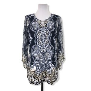 JM Collection Small Blouse Animal Stretchy Blue